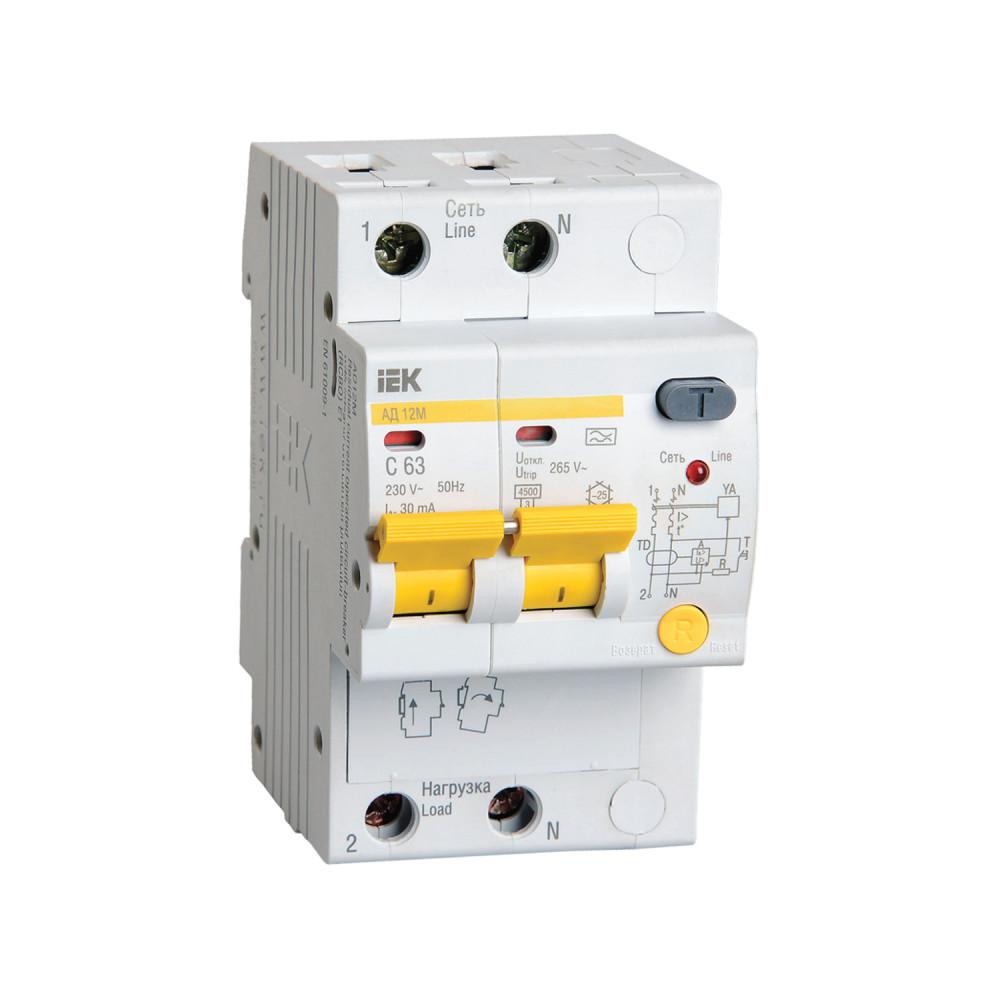 Дифференциальный автомат IEK АД12М 2P С63 30мА