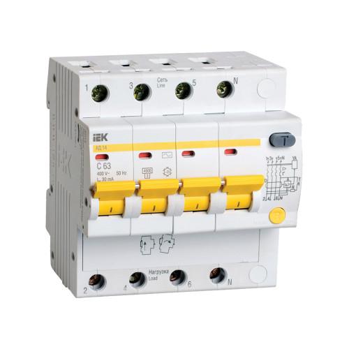 Дифференциальный автомат IEK АД14 4P 25А 30мА