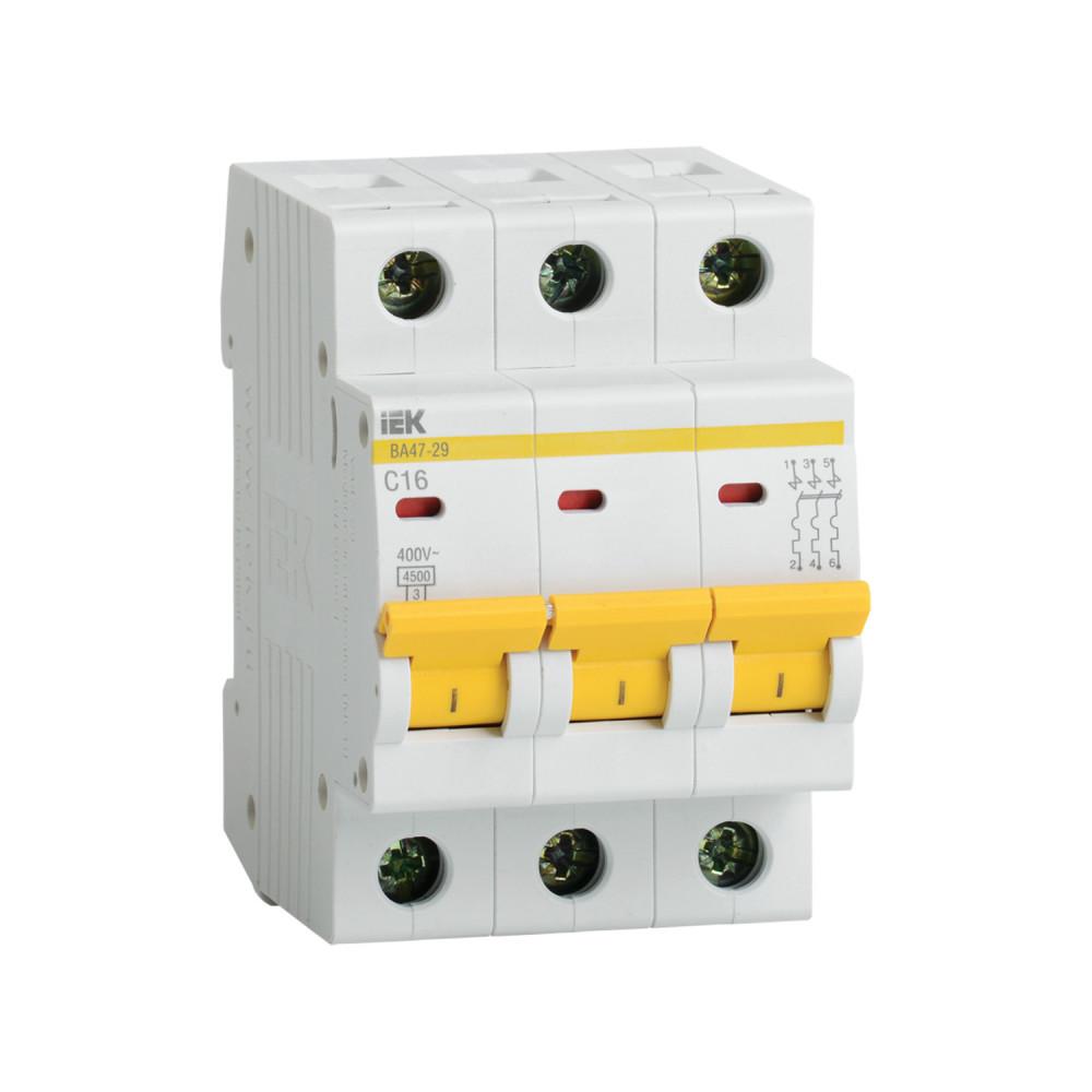 Автомат выключатель модульный IEK ВА 47-29 3P 16А 4,5кА