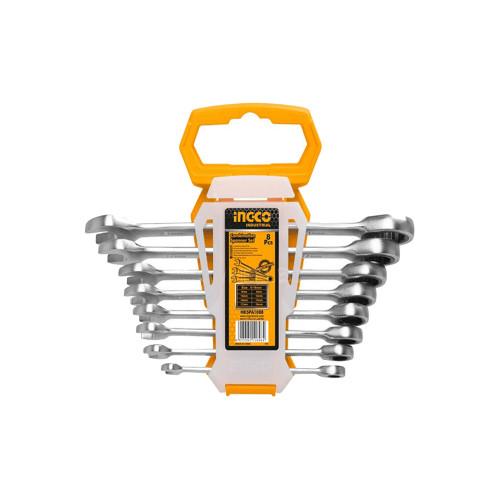 Набор комбинированных гаечных ключей с трещоткой  INGCO HKSPAR 1082