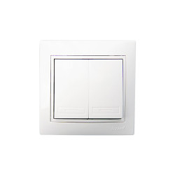Выключатель Lezard Mira 2кл белый с белой вставкой