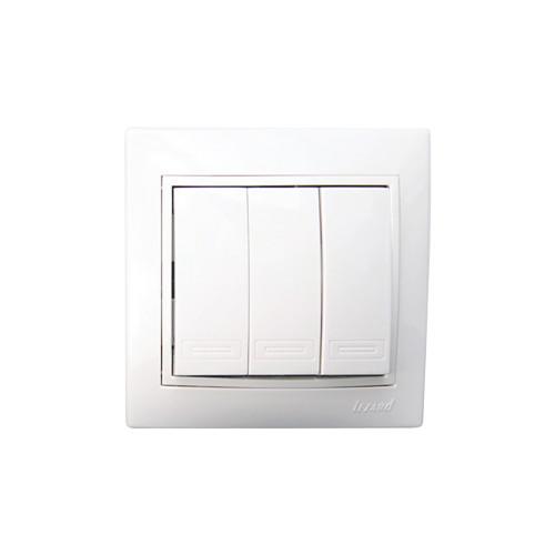 Выключатель Lezard Mira 3кл белый с белой вставкой