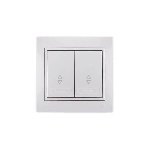 Выключатель Lezard Mira 2кл проходной белый с белой вставкой